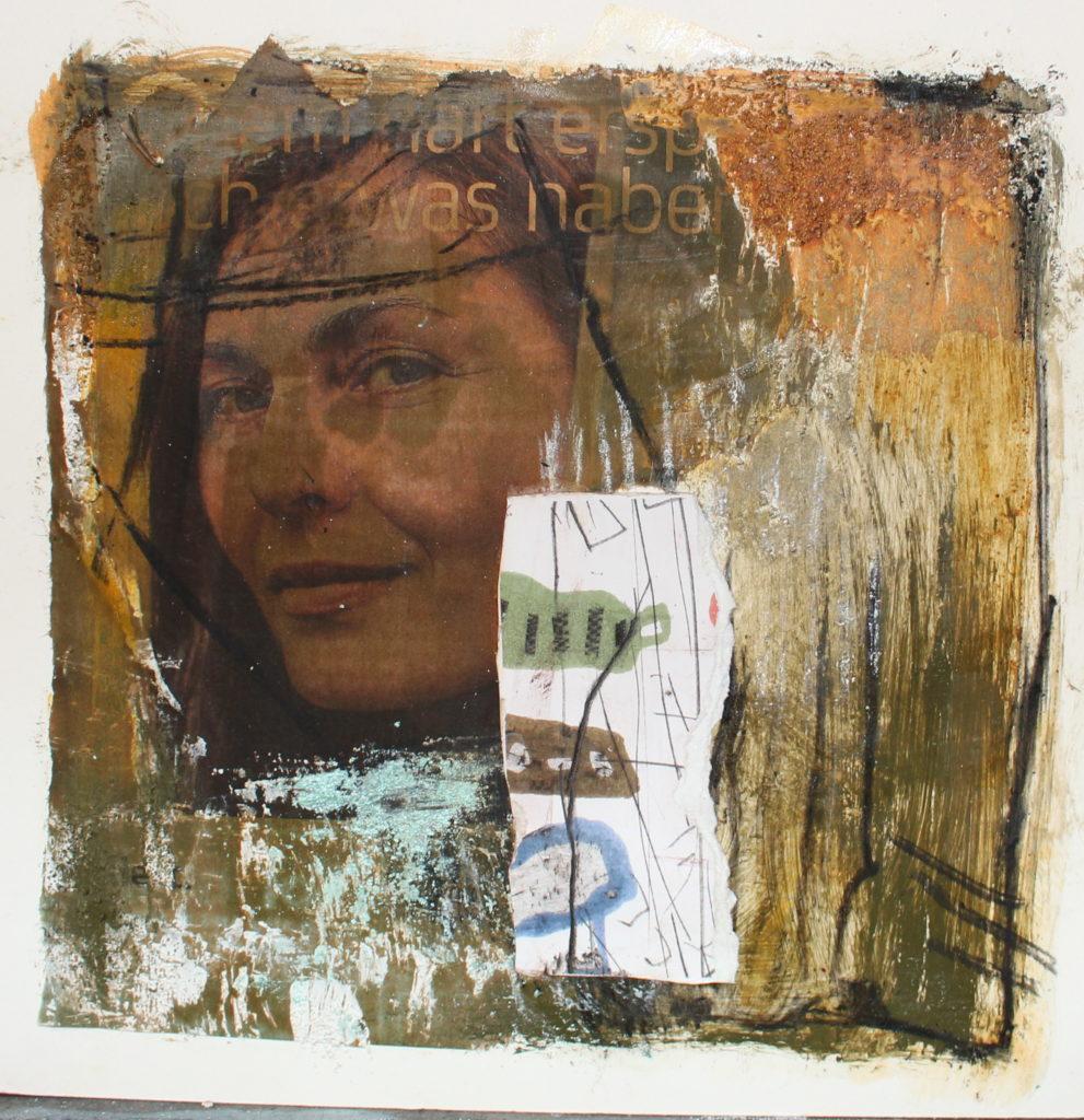 Collage mit Druck - Bild zeigt eine Frau, die Dich anblickt